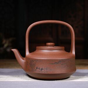 工艺美术师 储国峰 提壁 800cc 宜兴紫砂壶全手工原矿底槽清