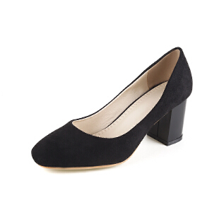 O'SHELL欧希尔春季上新007-8302韩版磨砂绒面粗跟女士单鞋