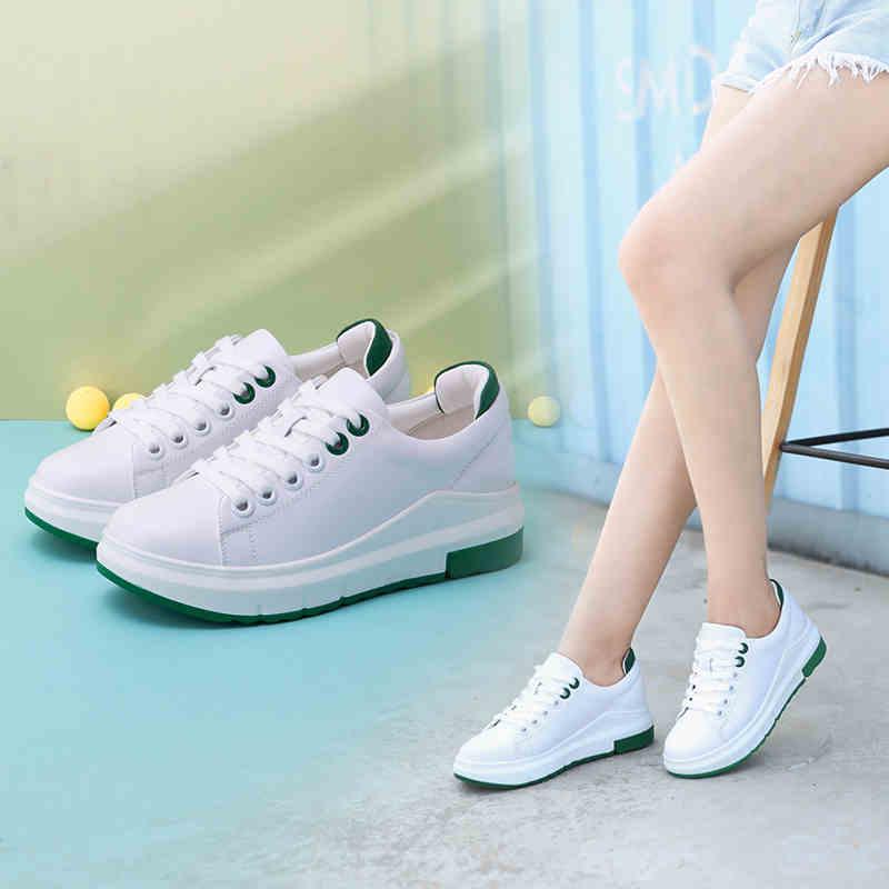 骆驼牌女鞋 新品浅口百搭女单鞋外增高小白鞋女厚底休闲鞋