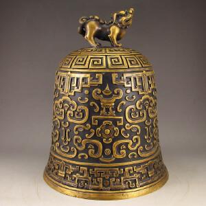 精工全黄铜打造铜钟摆件