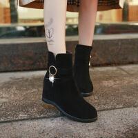 时尚冬款马丁靴潮女短靴平底内增高女靴磨砂绒面平跟短筒靴