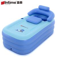 盈泰加厚保暖充气浴缸家用成人折叠浴桶儿童洗澡盆塑料泡澡沐浴桶