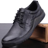 手工男鞋复古真皮商务休闲鞋男板鞋系带圆头潮鞋厚底男士皮鞋