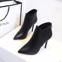 鞋子女2019潮鞋新款高跟细跟女靴子尖头短靴后拉链马丁靴女鞋单靴