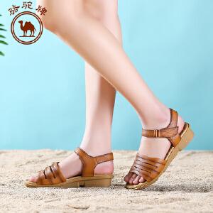 骆驼牌女鞋 夏季新品 女士休闲凉鞋平跟低跟透气女凉鞋子