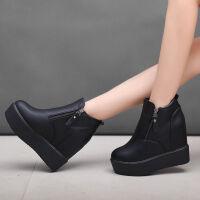 新款厚底内增高女靴平底休闲女鞋短靴秋冬松糕坡跟加绒棉鞋高跟鞋