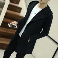 春秋季男士中长款风衣秋冬外套韩版学生大衣服大码披风开衫修身男