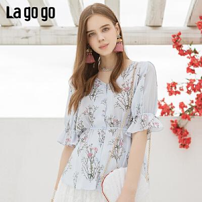 Lagogo/拉谷谷2019年夏季新款时尚女系带印花衬衫IACC255F23