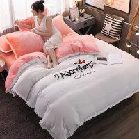 网红冬季床上四件套珊瑚绒少女心床单被套法兰绒加厚保暖公主风 四件套 爱家-白玉