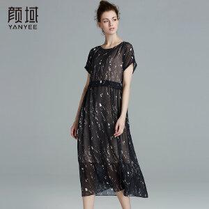颜域品牌女装2017夏季新款时尚飘逸A型显瘦雪纺印花连衣裙女夏