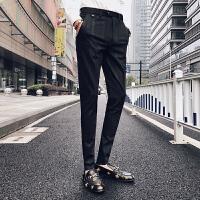 秋季韩版潮流男士小脚裤弹力加厚款修身西裤条纹商务休闲裤男裤子
