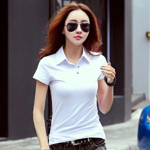 卡茗语夏装新款t恤女短袖纯棉韩版大码女装上衣翻领休闲运动体恤衫