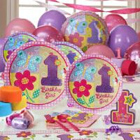 孩派 儿童生日聚会用品 宝宝生日派对用品 一岁粉花主题系列