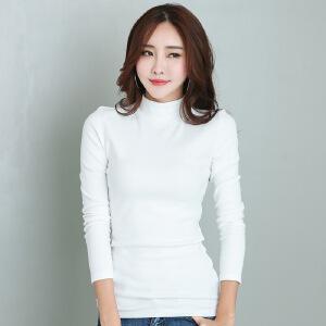 2017秋季韩版加厚新款纯色打底衫大码女装长袖t恤女士半高领上衣