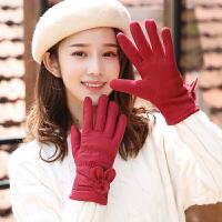 手套女秋冬天保暖五指羽绒棉触摸屏手套可爱开车户外御寒