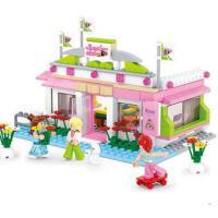 小鲁班积木玩具儿童益智拼装积木女生玩具台球俱乐部6岁以上