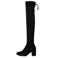 长筒靴女过膝2018秋冬新款平底黑色弹力性感网红粗跟高靴子