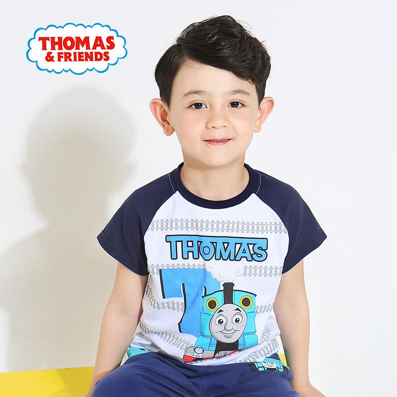【99元3件】托马斯童装正版授权男童夏装时尚圆领纯棉印花短袖T恤打底衫