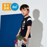 【折后叠券预估价:33】361儿童男中大童2021夏季新品男童短袖针织衫
