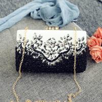 2018新款珍珠花卉韩版手拿包链条包横款方包韩版时尚单肩晚宴包斜挎包手提 黑色