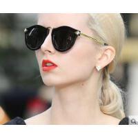 潮流大方气质偏光彩膜太阳眼镜炫彩太阳镜女新款欧美复古圆形墨镜