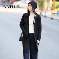 【18周年庆  满150减50 上不封顶】AMII[极简主义]冬女装新条纹针织V领中长厚毛衣外套