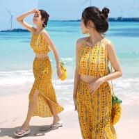 游泳衣女分体平角小胸聚拢比基尼三件套保守长裙沙滩度假 黄色