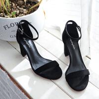2019夏季新款欧美高跟凉鞋粗跟黑色性感细带露趾一字带扣百搭女鞋 黑色 跟高【6cm】