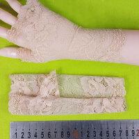 韩版夏季女短款半指手套 薄款蕾丝防晒手套夏天开车防紫外线手套 卡其色 1 均码