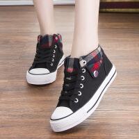 帆布鞋女学生韩版春秋高帮牛仔布鞋平底休闲运动球鞋可爱少女板鞋