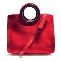 磨砂皮真皮手拎包2018新款购物袋形女士手提包时尚女包单肩斜跨包新娘包 红色磨砂皮