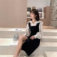 韩风修身连衣裙女装2019款春减龄背带裙+娃娃领长袖衬衫女