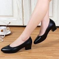 大东同款新款粗跟单鞋女黑色皮鞋职业中跟工装OL正装浅口尖头女鞋