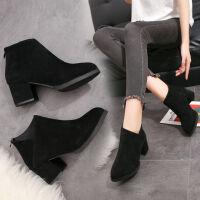 加绒短靴女秋冬季粗跟马丁靴英伦风裸靴高跟单靴2019新款百搭韩版 黑色 35