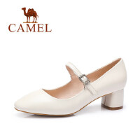 Camel/骆驼女鞋春季新款一字扣腕带 优雅复古 浅口单鞋