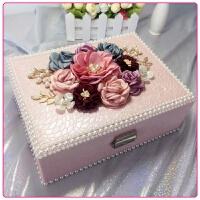 可爱首饰盒带锁欧式公主饰品收纳盒花朵多层耳钉珠宝盒钻创意