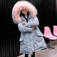 黛熊 大码孕妇棉衣冬季韩版孕妇装中长款羽绒潮妈防水棉袄B-18001