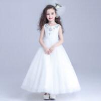 韩版新款女童晚礼服网纱裙摆花童礼服裙 主持人长款连衣裙钢琴表演服儿童公主裙婚纱裙