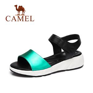 camel骆驼女鞋 夏季新款 简约魔术贴舒适防滑鞋真皮松糕凉鞋