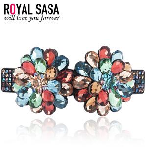 皇家莎莎RoyalSaSa韩版头饰品发卡顶夹亚克力盘发夹人造水晶横夹发饰-真爱时光