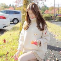 秋装女2018新款黄色高领毛衣女秋冬季宽松针织外套韩版bf套头学生 杏色(如图) M