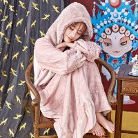 珊瑚绒睡衣女秋冬季加厚保暖加长款连体家居服法兰绒睡裙女冬 图片色 是160(M)