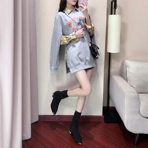 卡茗语秋装戚薇明星同款套装宽松字母印花开叉卫衣+格子衬衫两件套