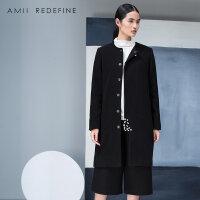 JII AMII冬季新品大码修身羊毛呢外套女装黑色毛呢大衣女长款过膝
