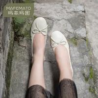 玛菲玛图软皮鞋女蝴蝶结平底头层牛皮防滑透气舒适孕妇妈妈鞋2020夏季女鞋1165-2