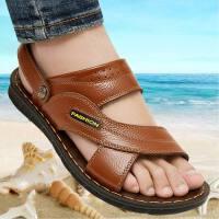 【头层牛皮】拖鞋男沙滩鞋防滑中老年两用软底大码休闲男凉鞋 38 标准尺码
