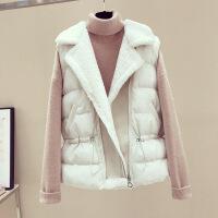 羊羔毛马甲女2018冬季新款宽松中长款加厚羽绒棉背心欧货马夹外套
