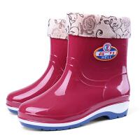 四季雨鞋女短筒加绒雨靴时尚防水鞋女士中筒胶鞋套鞋保暖 红色 加绒 雨鞋女