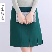 一米阳光2016新款韩版针织半身裙秋冬修身显瘦中长款裙子