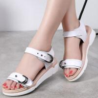 夏季新款韩版百搭平底凉鞋女士孕妇休闲平跟舒适学生真皮女鞋